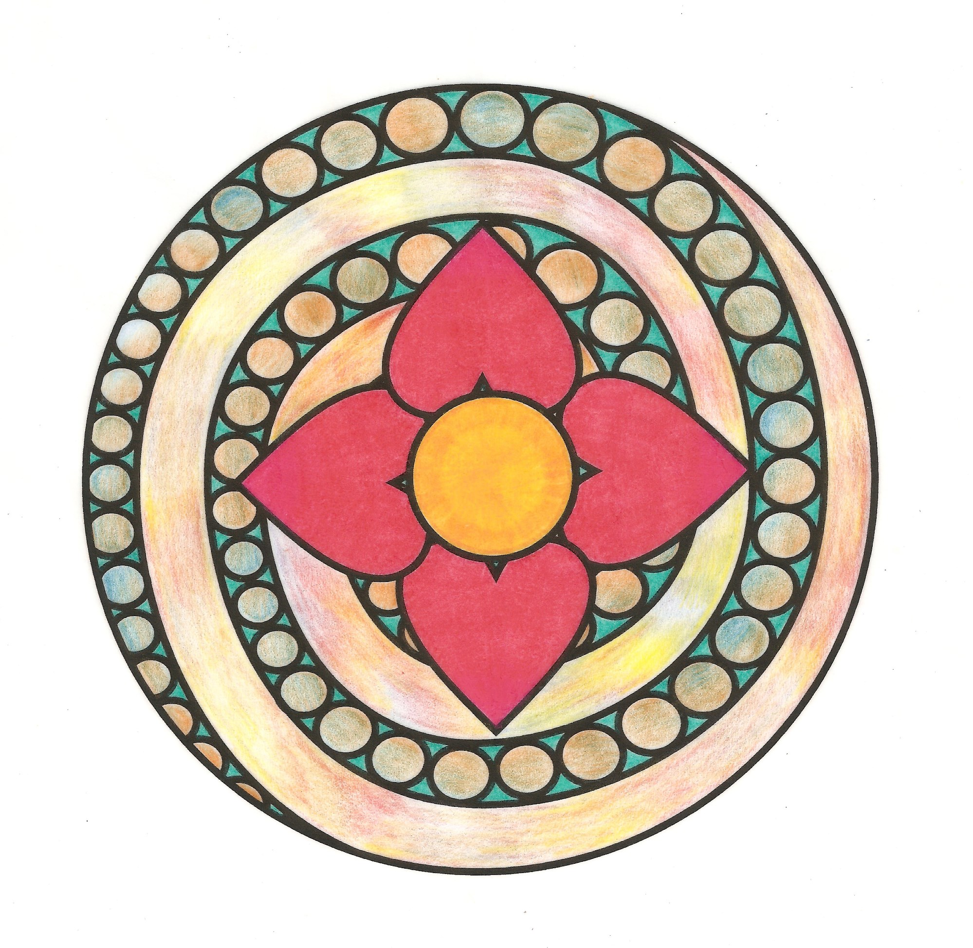 Heart of the Flower Mandala Colored
